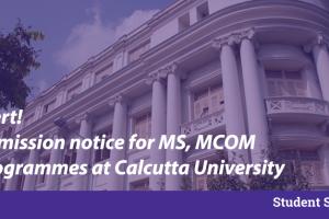 calcutta university ms mcom admission forms